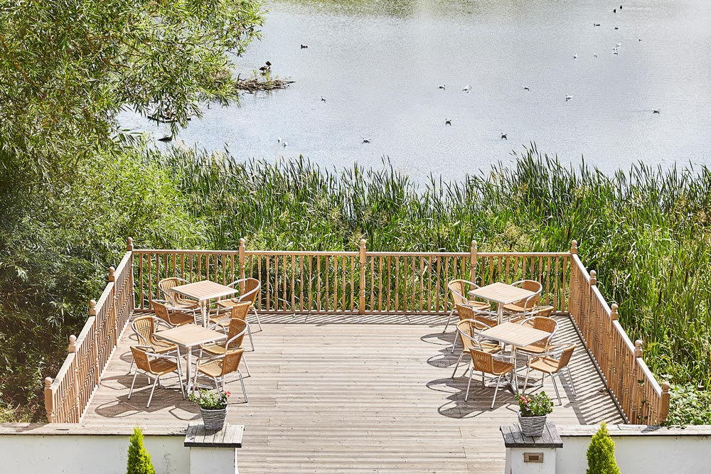 Outdoor decking overlooking a lake