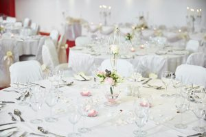 Round wedding table decorated